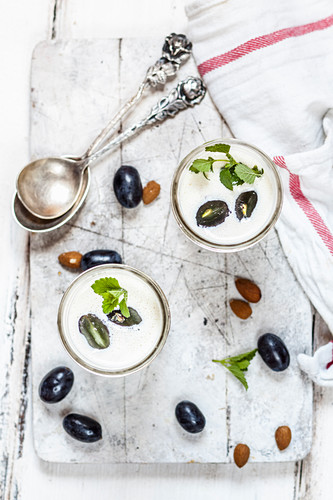 Spanish cold almond soup with blue grapes