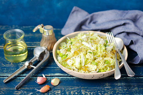 Napa cabbage salad with sour cucumber and garlic