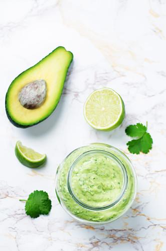 Greek yogurt and avocado dressing with cilantro and lime