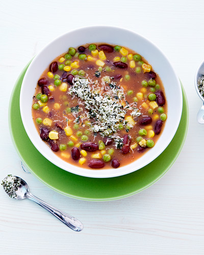 Hearty minestrone soup with kidney beans, sweetcorn and peas