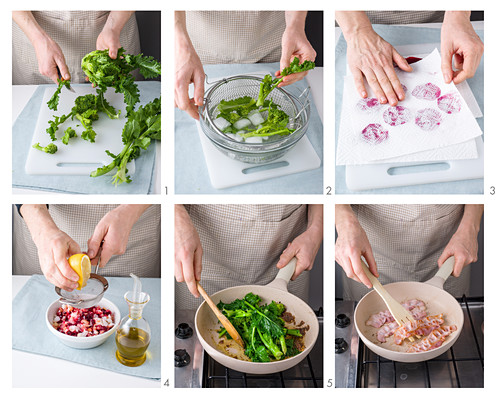 Rapini being prepared and sautéed, bacon being fried and beetroot slices being patted dry