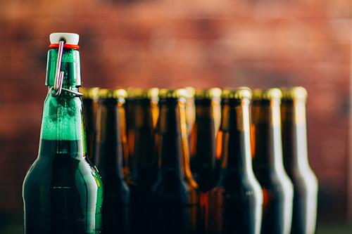 Group of beer bottles shoot