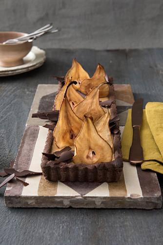 Birnentarte mit Schokolade und Kaffee-Panna cotta