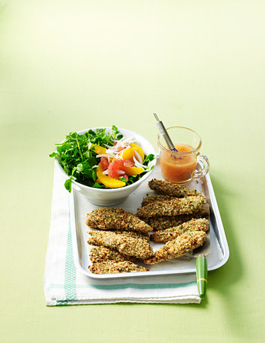 Crumbed chicken and citrus salad