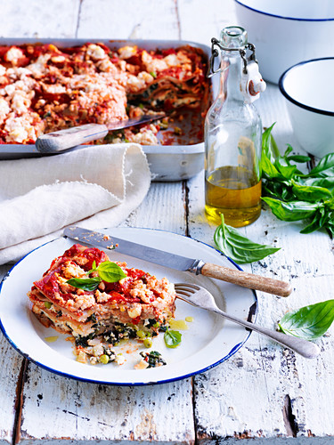 Pea, spinach and fennel lasagne