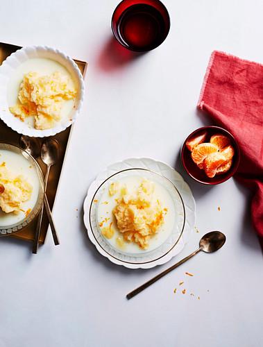 Orange Blossom milk puddings with mandarin