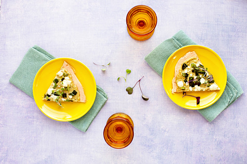 Red Lentil Flatbread with Roasted Poblano and Tomatillo Pesto
