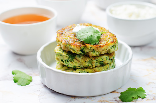 Zucchini and ricotta fritters with cilantro