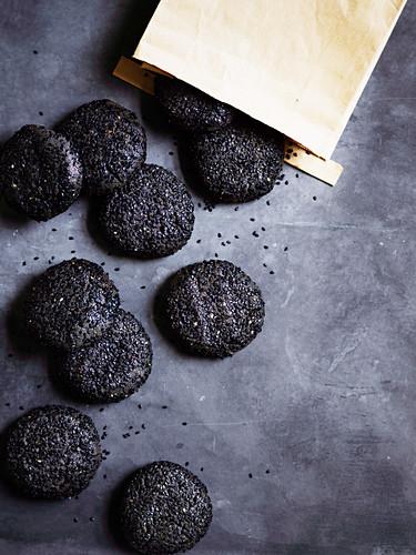 Black sesame, brown butter and wattleseed cookies