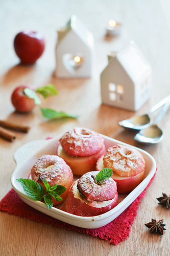 Baked apples stuffed with muesli