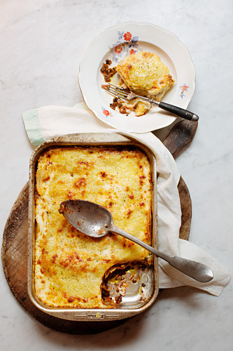 Vegetarian lasagne with lentil bolognese and goat's cheese