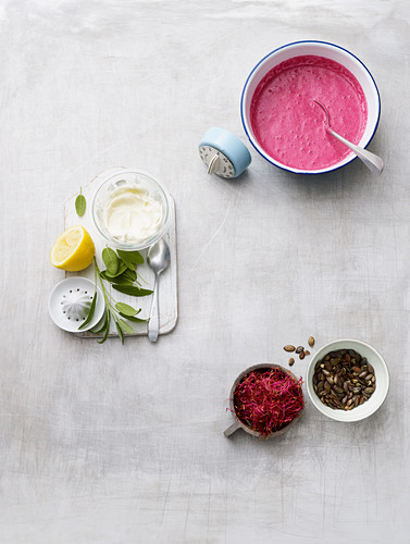 Ingredients for making beetroot waffles with wasabi cream cheese