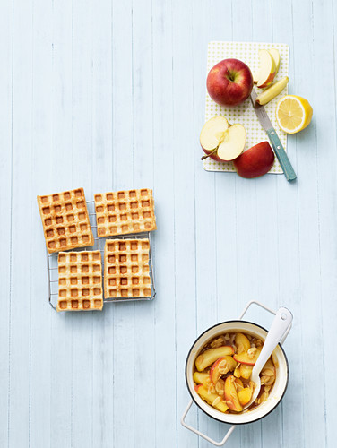 Ingredients for making puff pastry waffles with caramelized apples