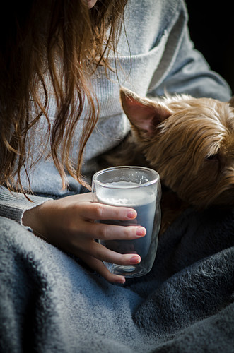 Quiet time with a yorkie and charcoal latte