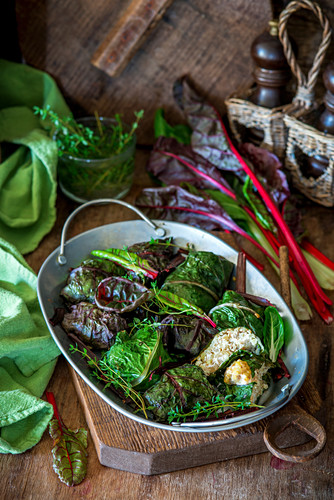 Swiss chard leaves stuffed with minced chicken and rice