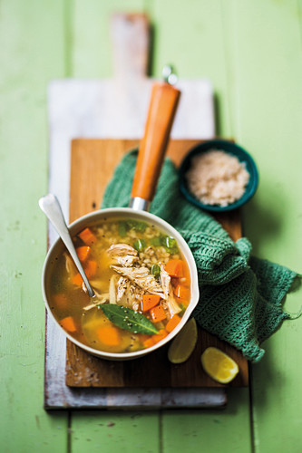 Chicken, barley and lemon soup