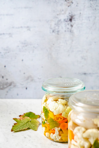 Mixed pickles in preserving jars