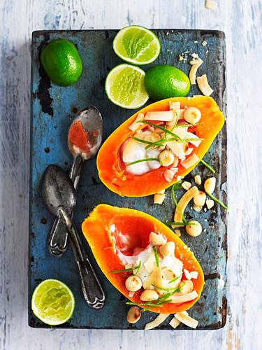 Papaya and Macadamias with Vegan Yoghurt
