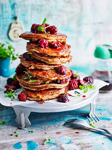 Apple Pie Pancakes with Blackberry Compote
