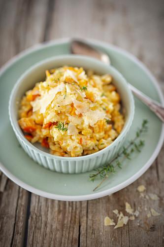Pumpkin risotts with pecorino cheese