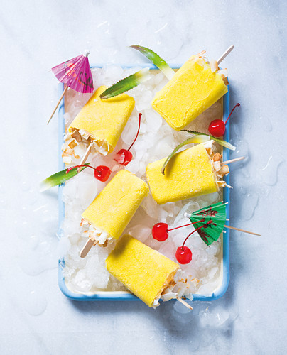 Pina colada ice lollies
