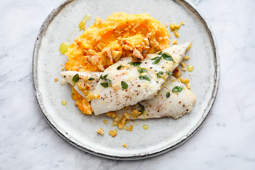 Sous vide bass with mashed sweet potato