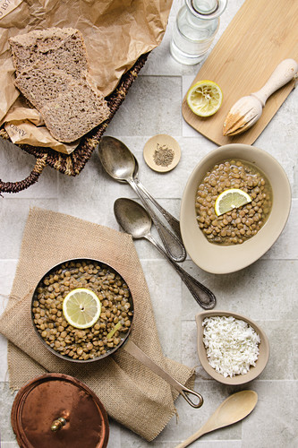 Lentils with lemon and rice