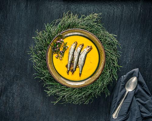 Pumpkin soup with sardines