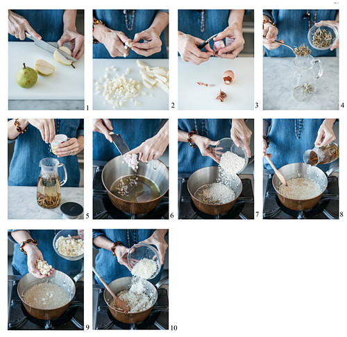 How to make white jasmine tea and pear risotto