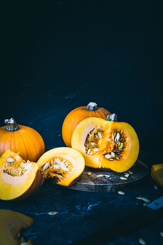 Still life of Pumpkins, sliced and whole
