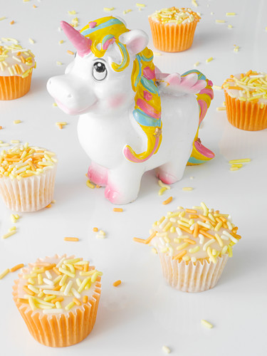 Mini cupcakes with icing and sugar sprinkles