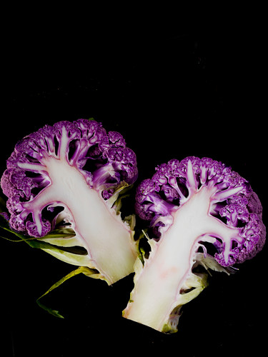 Purple cauliflower, halved