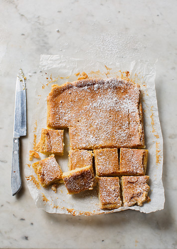 Bean blondies with white chocolate and limes