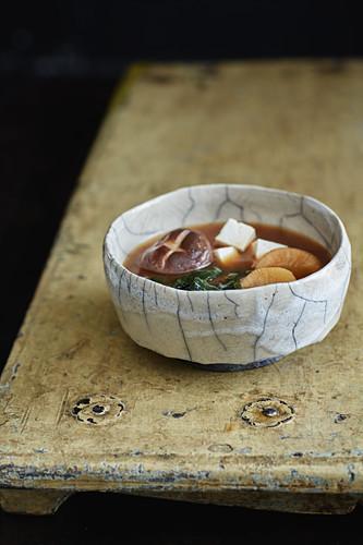 Miso soup with wakame, tofu, radish and shiitake