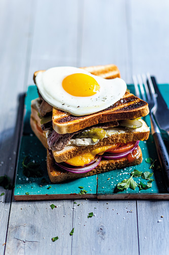 A double-decker toasted sandwich with steak and a fried egg
