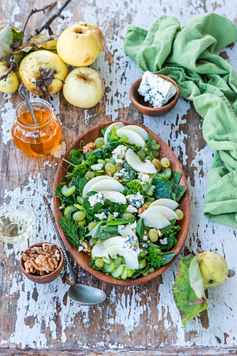 Apple salad with grapes, blue cheese and honey dressing