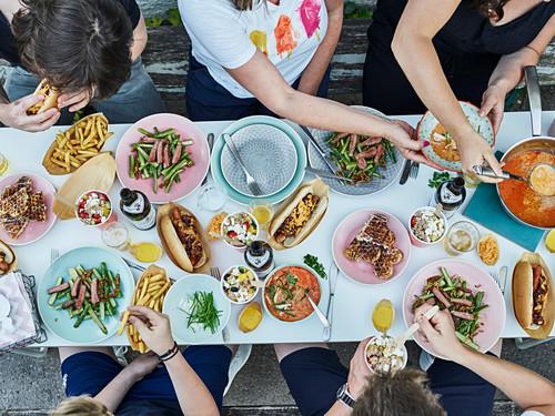 A street food corner table scene