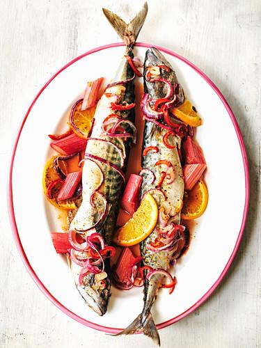 Makrelen mit Rhabarber, roten Zwiebeln und Orange