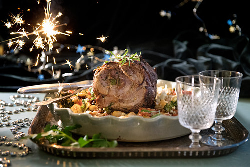 Festive pork roulade on a tray