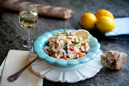 Lemon risotto with seafood