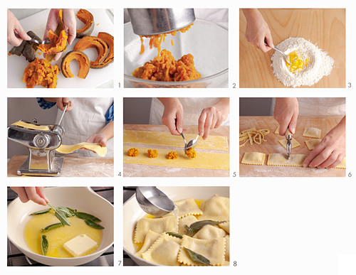 Tortelli di zucca (pasta with a pumpkin filling, Italy) being made