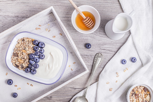 Oats and blueberry with honey breakfast