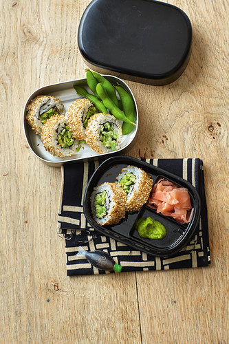 California rolls with cream cheese, edamame and mint