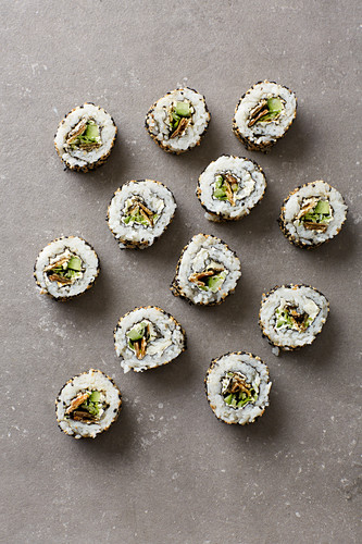 California rolls with cream cheese and crispy salmon