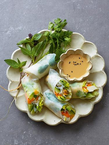 Veggie summer rolls with mango, tofu and a cashew dip