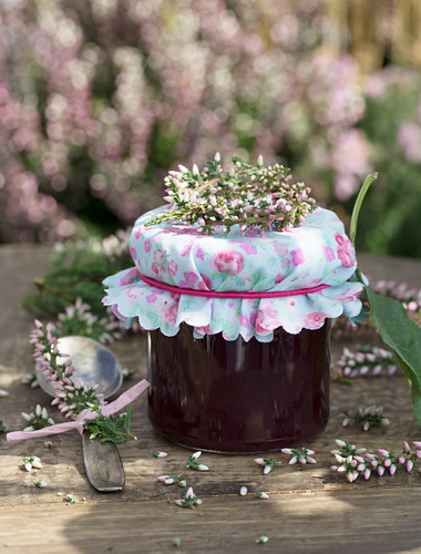 Damson jam with erica as a gift