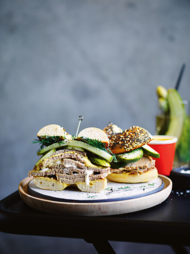 Salt beef bagel with mustard and pickles