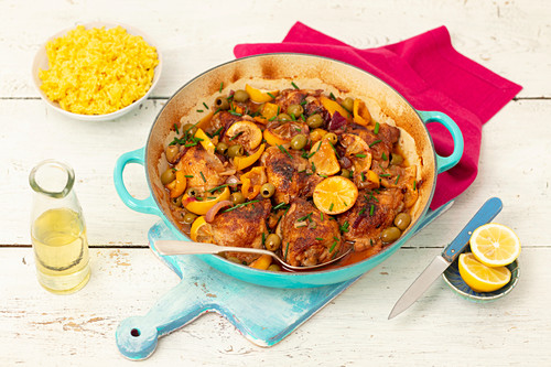 Chicken with olives and lemon, curried rice
