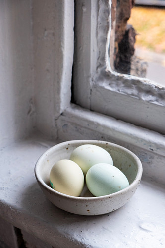 Eggs on a bowl