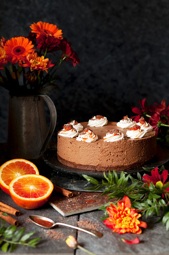 Chcolate Mousse Cake with Blood Orange Compote